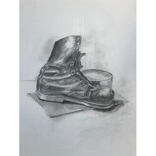 Chaussure graphite - Technique de dessin et fusain à vevey par Fabienne Vogeli