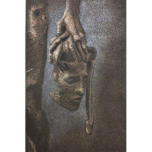 Gorgone en pointillisme - cours de peinture à Vevey par Fabienne Vogeli